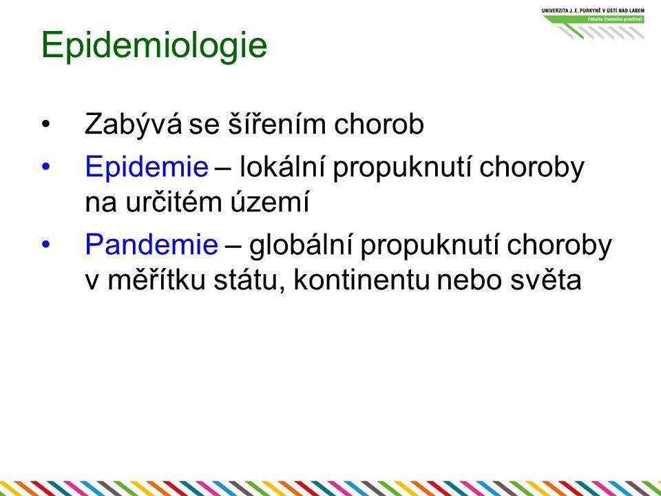 Epidemiologie Zabývá se šířením chorob