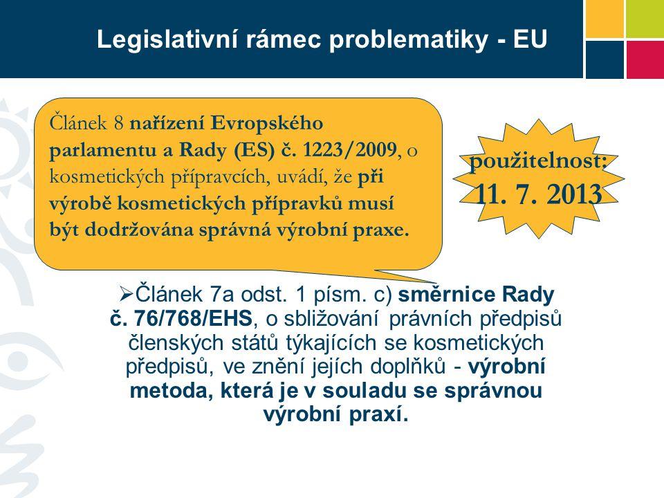 Legislativní rámec problematiky - EU