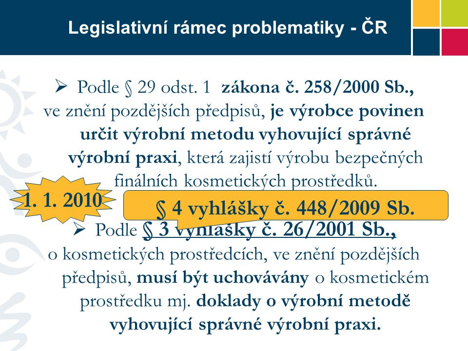 Legislativní rámec problematiky - ČR