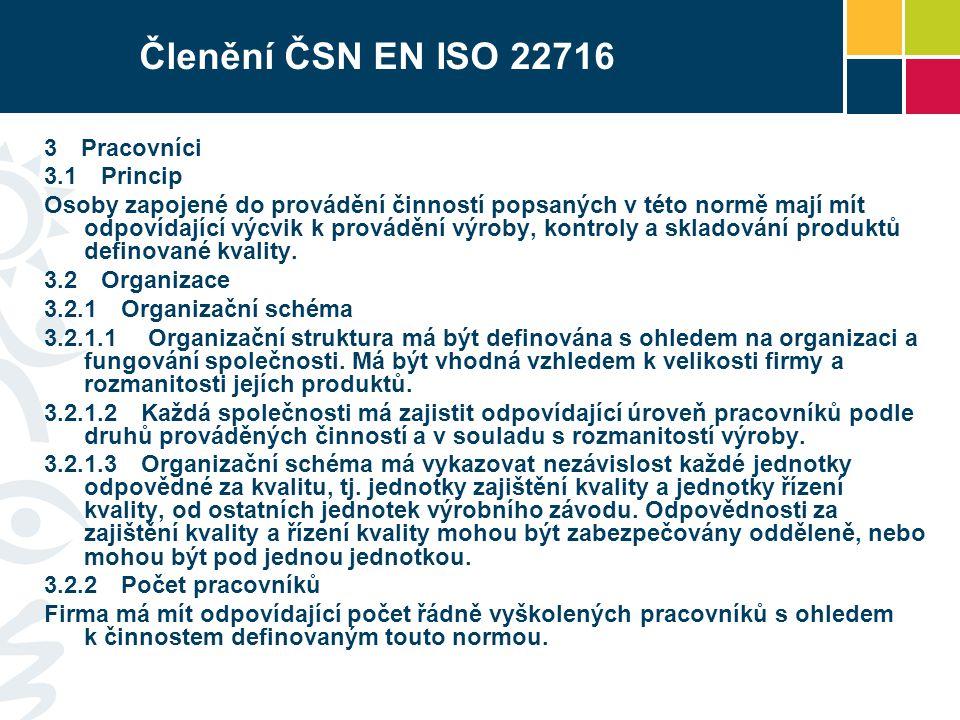 Členění ČSN EN ISO 22716 3 Pracovníci 3.1 Princip