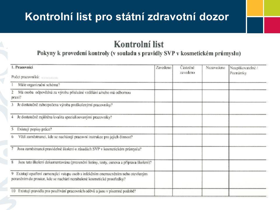 Kontrolní list pro státní zdravotní dozor