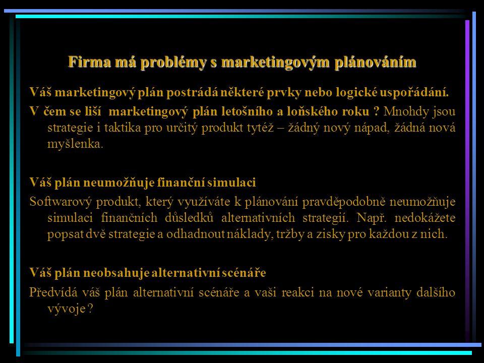 Firma má problémy s marketingovým plánováním