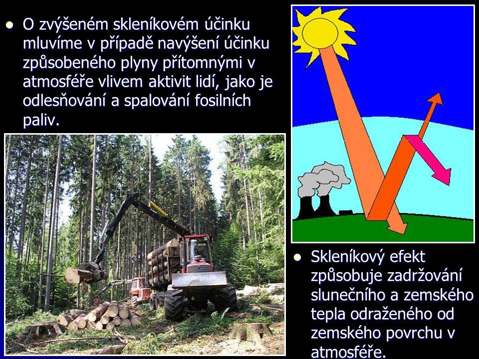 O zvýšeném skleníkovém účinku mluvíme v případě navýšení účinku způsobeného plyny přítomnými v atmosféře vlivem aktivit lidí, jako je odlesňování a spalování fosilních paliv.