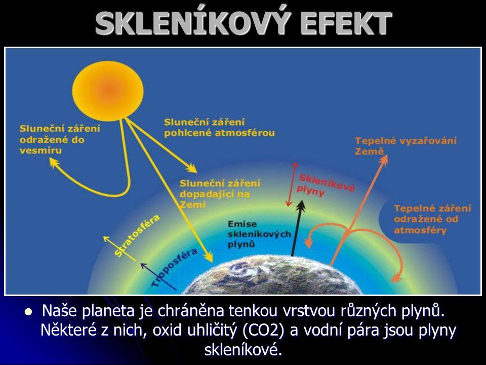 SKLENÍKOVÝ EFEKT Naše planeta je chráněna tenkou vrstvou různých plynů.
