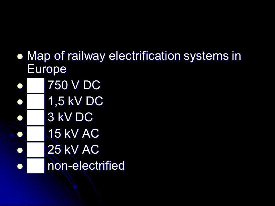 Map of railway electrification systems in Europe