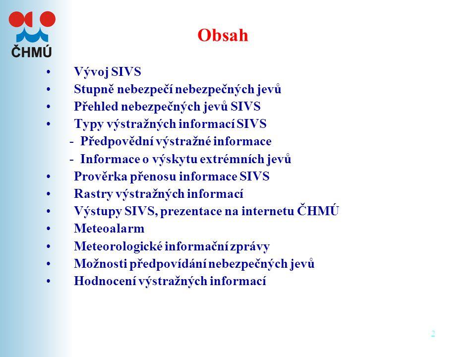 Obsah Vývoj SIVS Stupně nebezpečí nebezpečných jevů