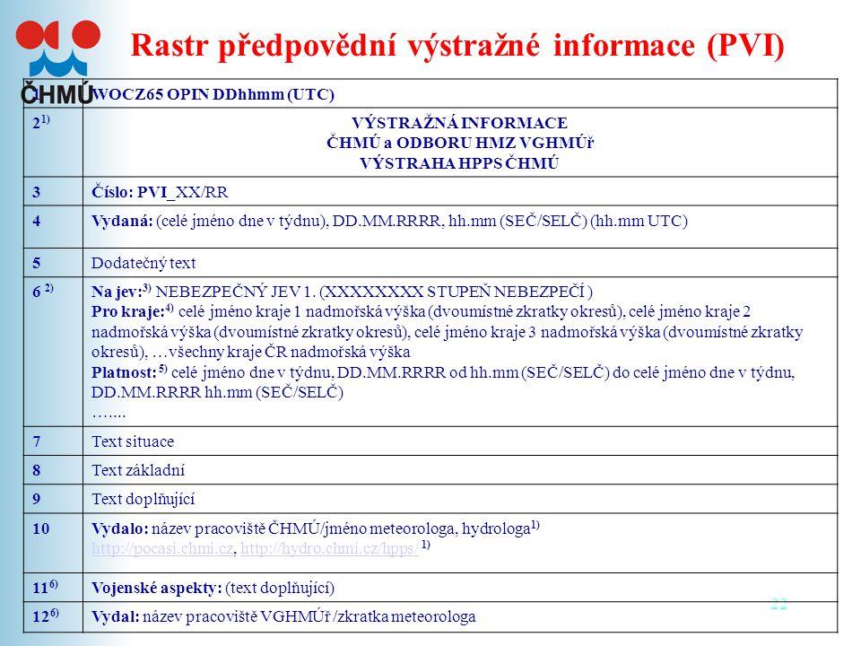 Rastr předpovědní výstražné informace (PVI)