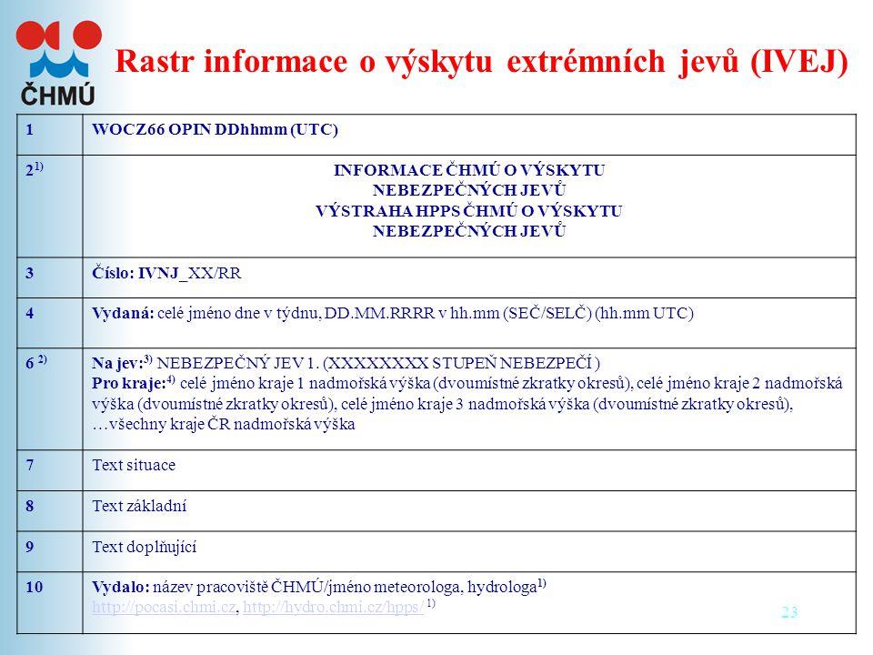 Rastr informace o výskytu extrémních jevů (IVEJ)