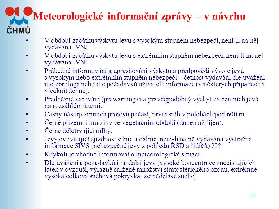 Meteorologické informační zprávy – v návrhu