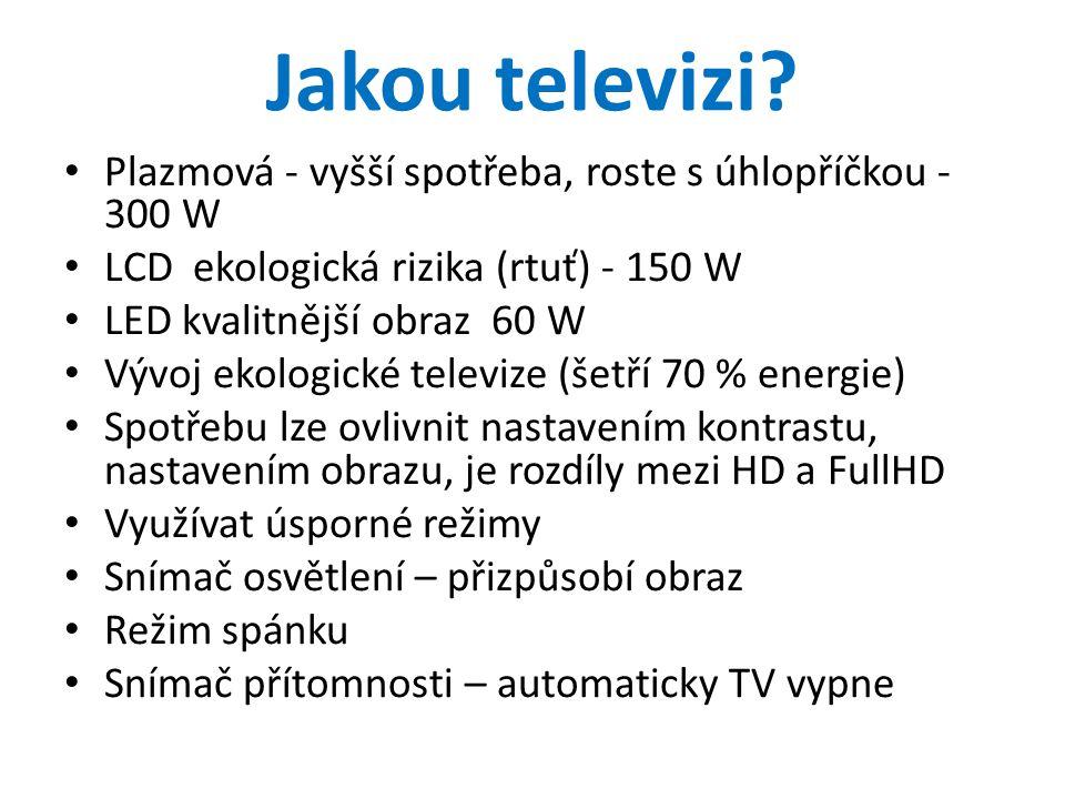 Jakou televizi Plazmová - vyšší spotřeba, roste s úhlopříčkou - 300 W