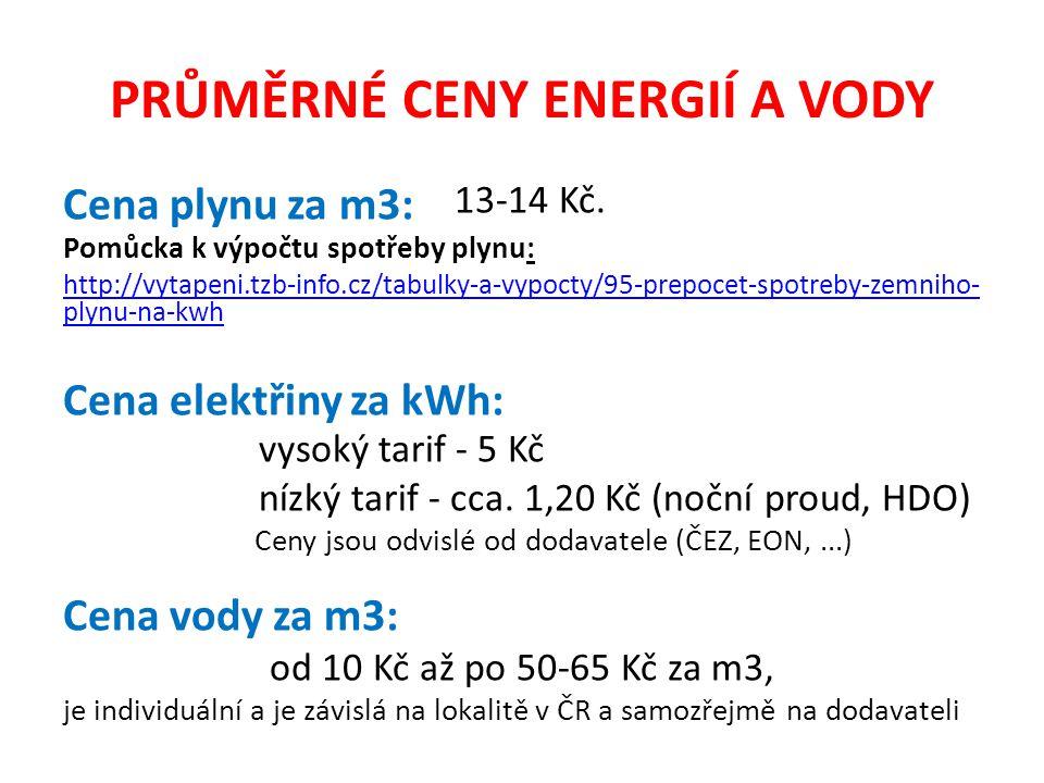 PRŮMĚRNÉ CENY ENERGIÍ A VODY