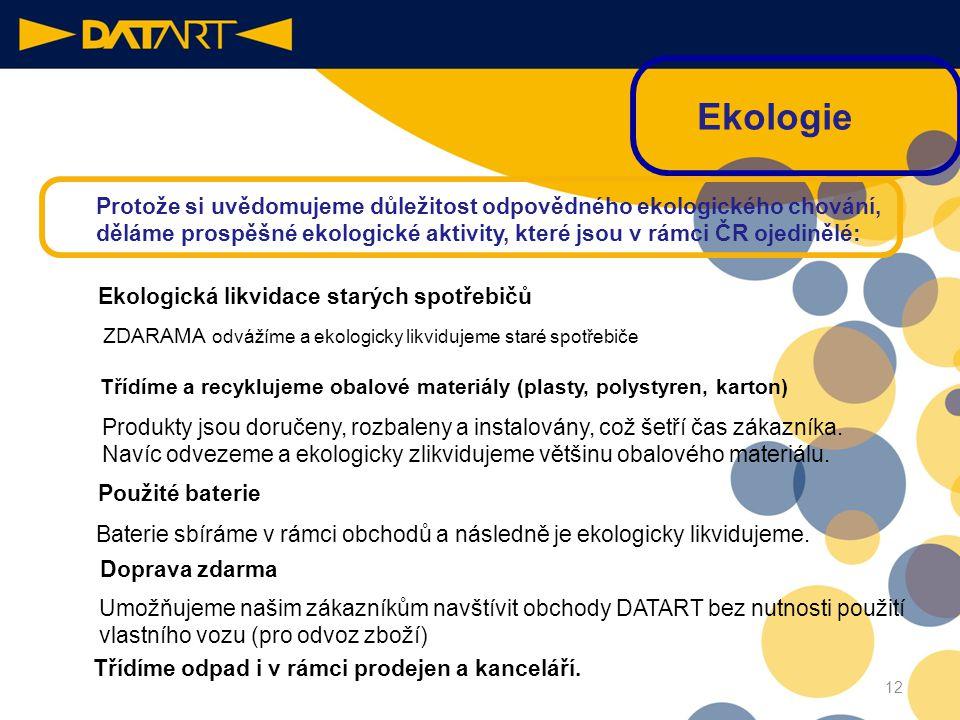 Ekologie Protože si uvědomujeme důležitost odpovědného ekologického chování, děláme prospěšné ekologické aktivity, které jsou v rámci ČR ojedinělé: