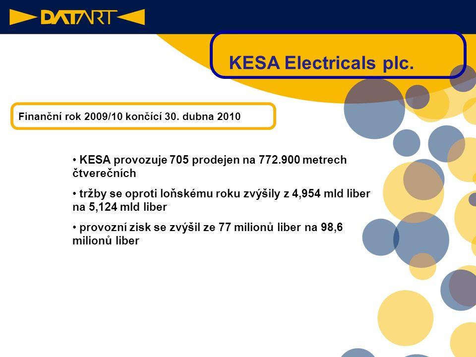 KESA Electricals plc. Finanční rok 2009/10 končící 30. dubna 2010. KESA provozuje 705 prodejen na 772.900 metrech čtverečních.