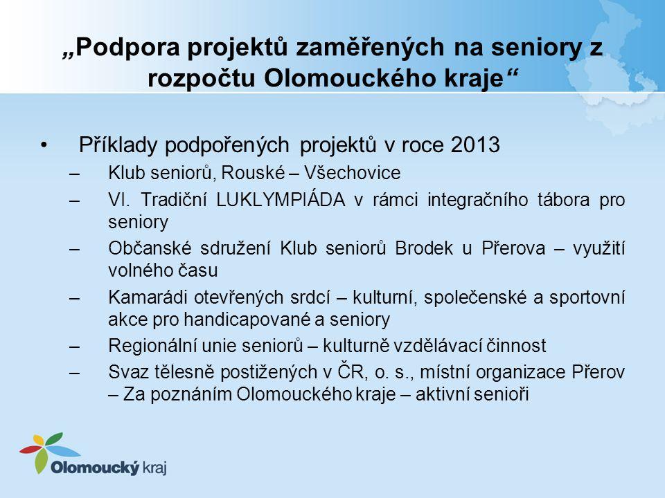 """""""Podpora projektů zaměřených na seniory z rozpočtu Olomouckého kraje"""