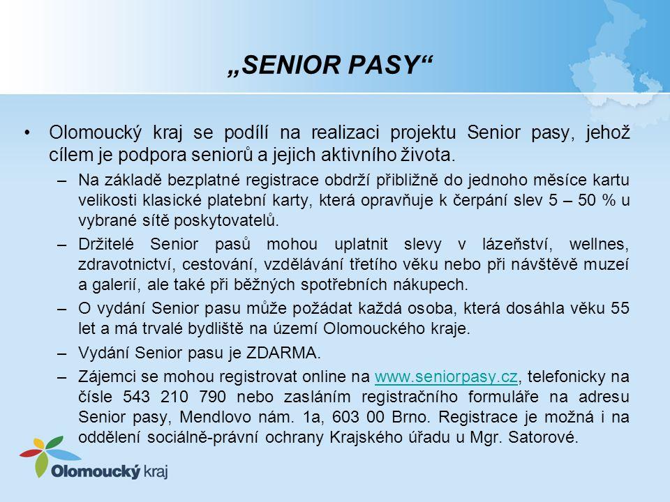"""""""SENIOR PASY Olomoucký kraj se podílí na realizaci projektu Senior pasy, jehož cílem je podpora seniorů a jejich aktivního života."""