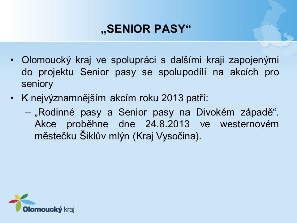 """""""SENIOR PASY Olomoucký kraj ve spolupráci s dalšími kraji zapojenými do projektu Senior pasy se spolupodílí na akcích pro seniory."""