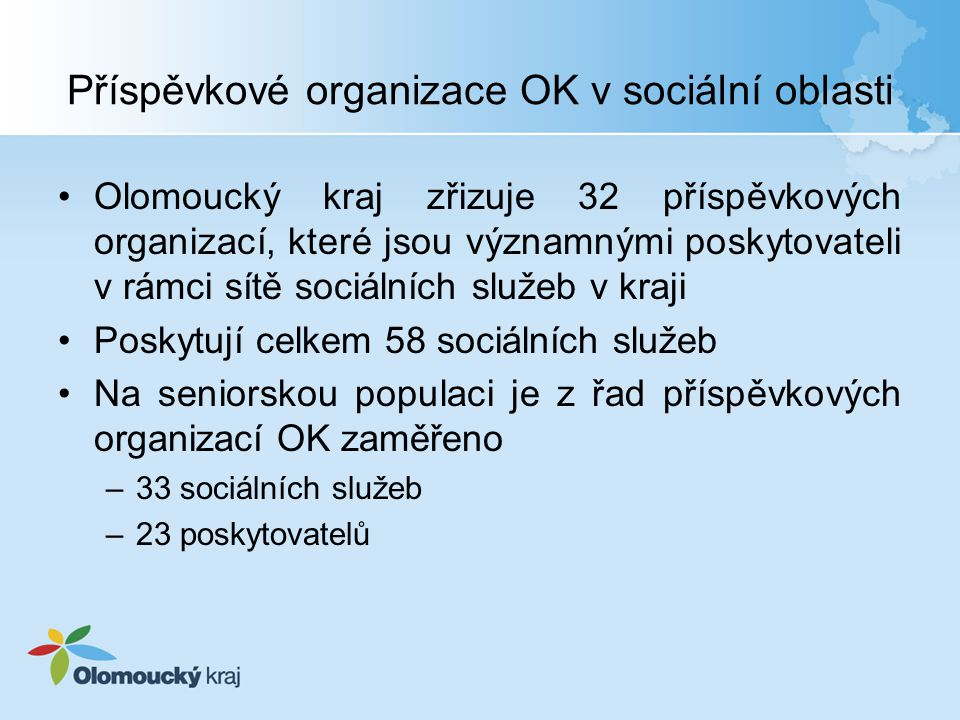 Příspěvkové organizace OK v sociální oblasti