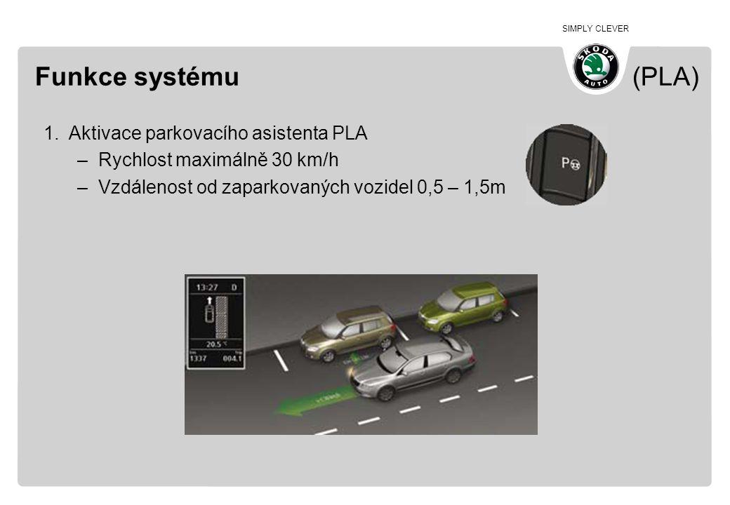 Funkce systému (PLA) Aktivace parkovacího asistenta PLA