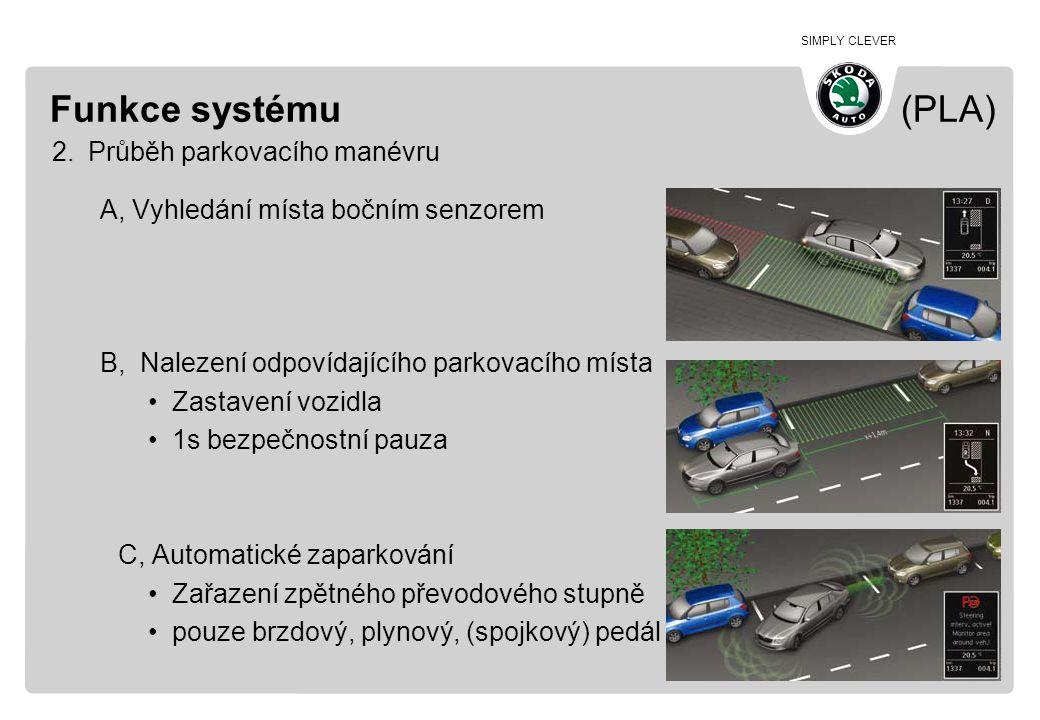 Funkce systému (PLA) Průběh parkovacího manévru