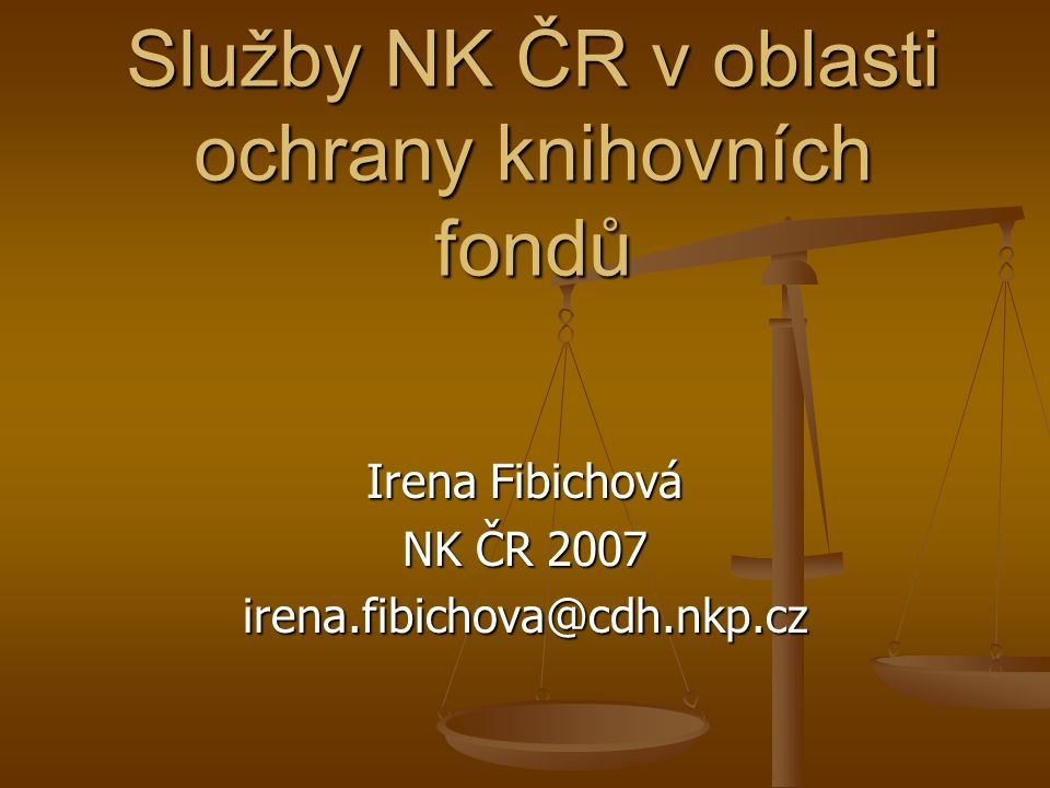 Služby NK ČR v oblasti ochrany knihovních fondů