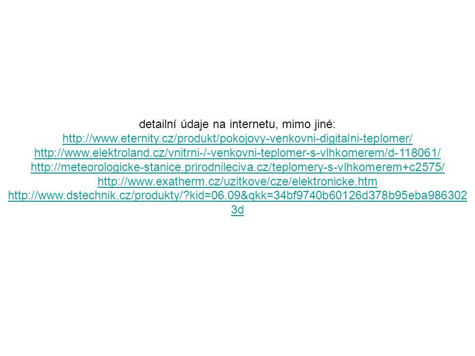 detailní údaje na internetu, mimo jiné: