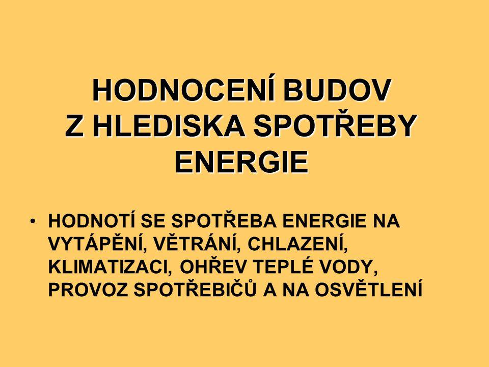 HODNOCENÍ BUDOV Z HLEDISKA SPOTŘEBY ENERGIE