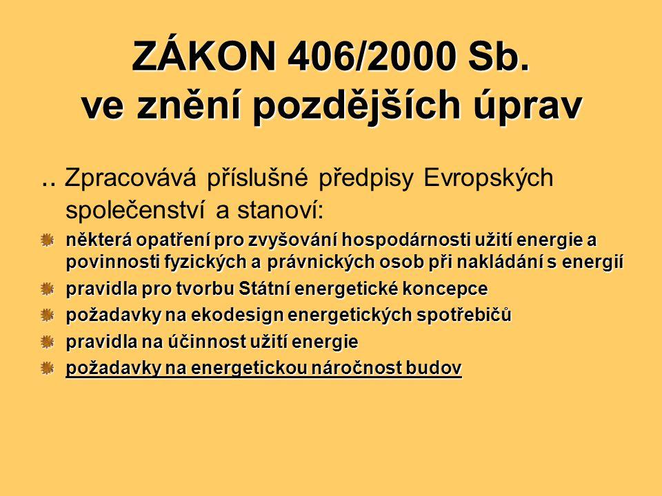 ZÁKON 406/2000 Sb. ve znění pozdějších úprav