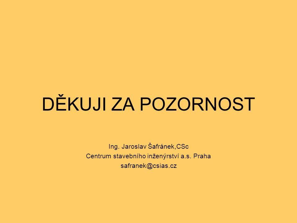 DĚKUJI ZA POZORNOST Ing. Jaroslav Šafránek,CSc