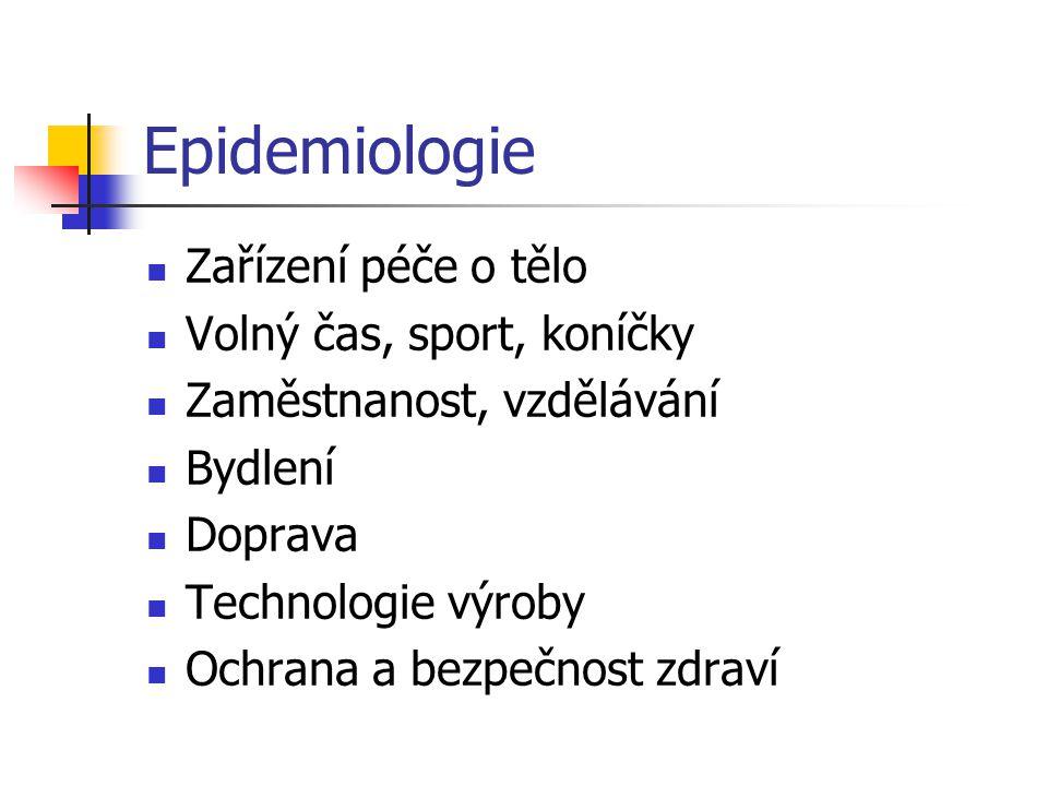Epidemiologie Zařízení péče o tělo Volný čas, sport, koníčky