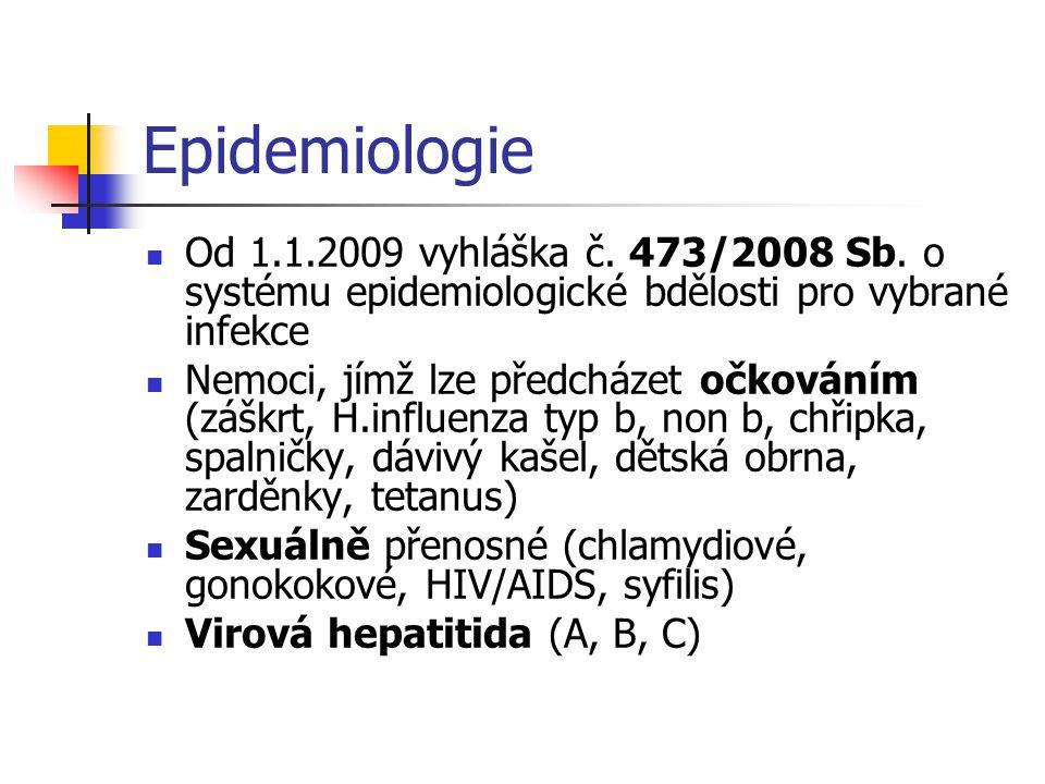 Epidemiologie Od 1.1.2009 vyhláška č. 473/2008 Sb. o systému epidemiologické bdělosti pro vybrané infekce.