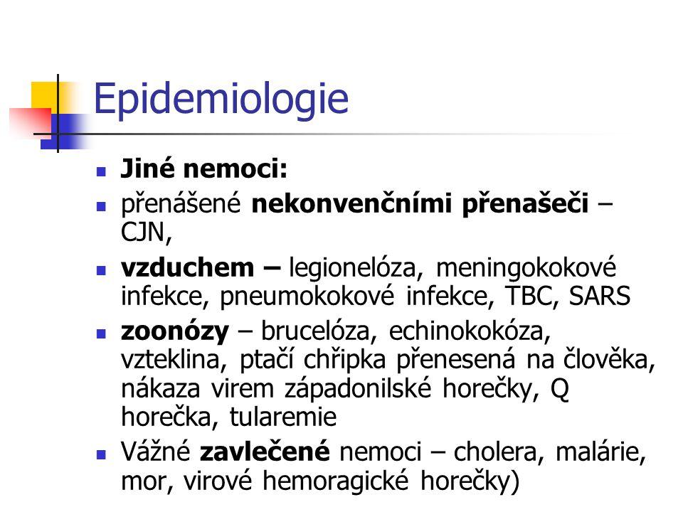 Epidemiologie Jiné nemoci: přenášené nekonvenčními přenašeči – CJN,