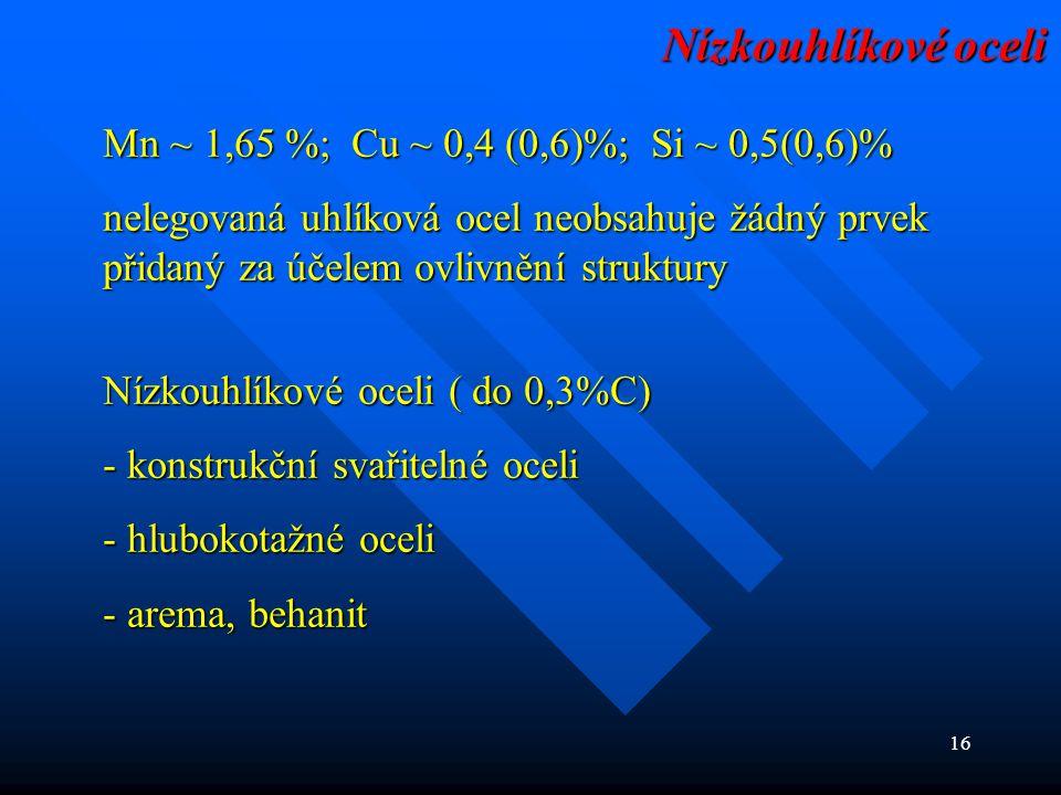 Nízkouhlíkové oceli Mn ~ 1,65 %; Cu ~ 0,4 (0,6)%; Si ~ 0,5(0,6)%