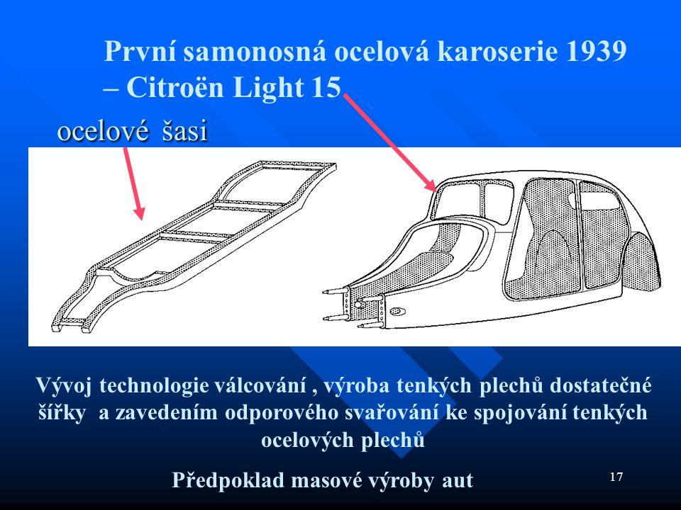 ocelové šasi První samonosná ocelová karoserie 1939 – Citroën Light 15