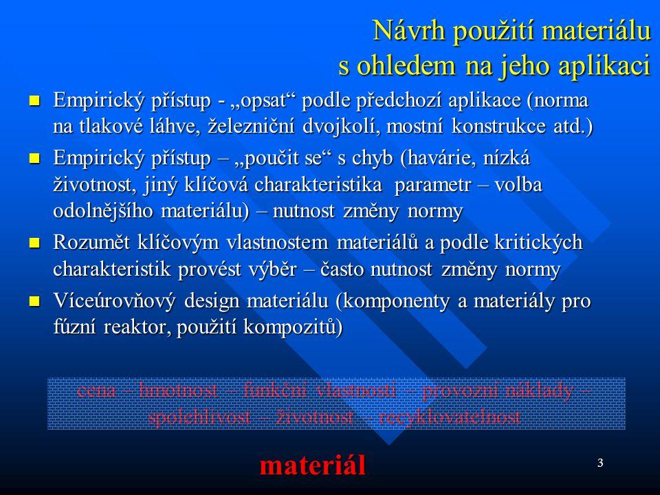 Návrh použití materiálu s ohledem na jeho aplikaci