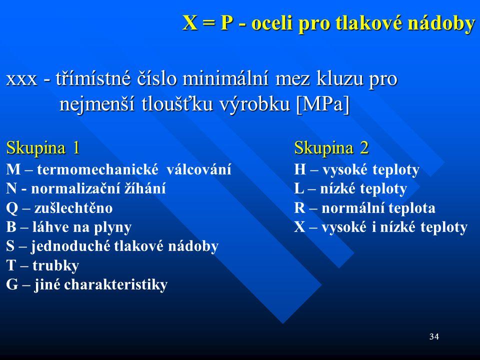 X = P - oceli pro tlakové nádoby