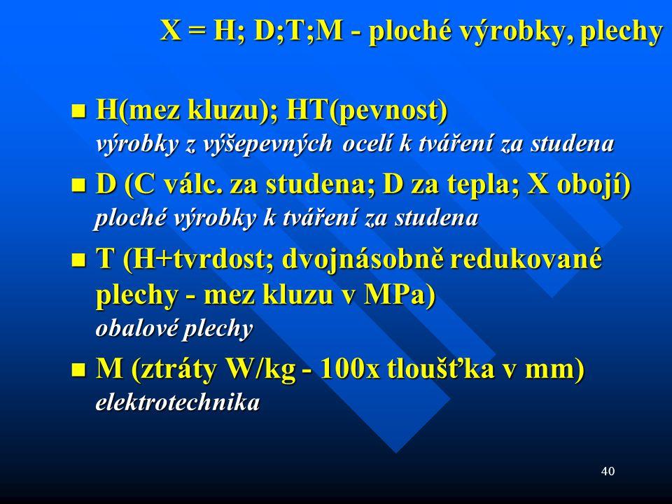 X = H; D;T;M - ploché výrobky, plechy