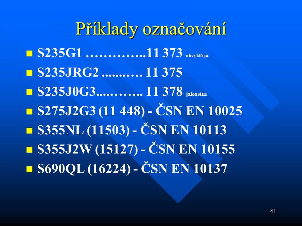 Příklady označování S235G1 …………..11 373 obvyklá j.