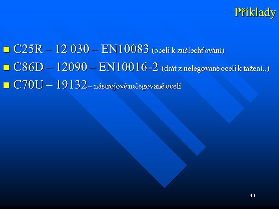Příklady C25R – 12 030 – EN10083 (oceli k zušlechťování) C86D – 12090 – EN10016 -2 (drát z nelegované oceli k tažení..)