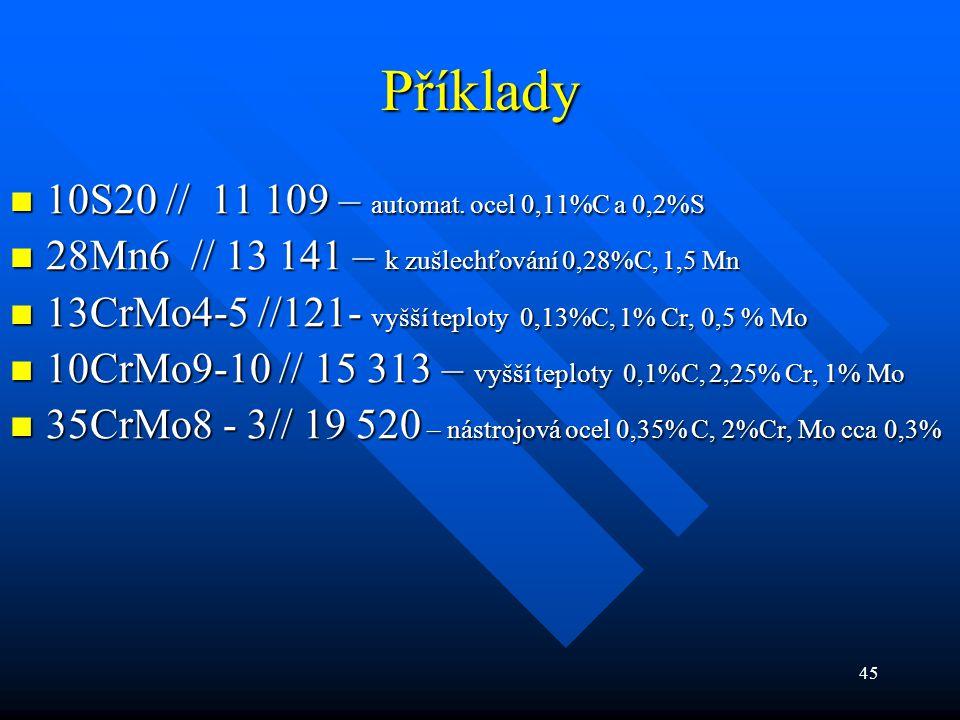Příklady 10S20 // 11 109 – automat. ocel 0,11%C a 0,2%S