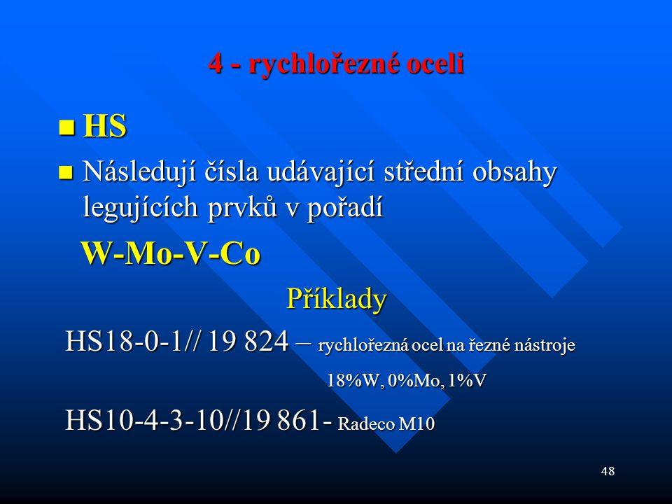 4 - rychlořezné oceli HS. Následují čísla udávající střední obsahy legujících prvků v pořadí. W-Mo-V-Co.
