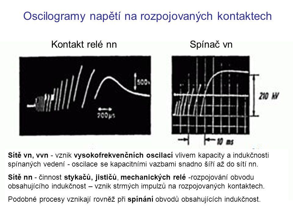 Oscilogramy napětí na rozpojovaných kontaktech