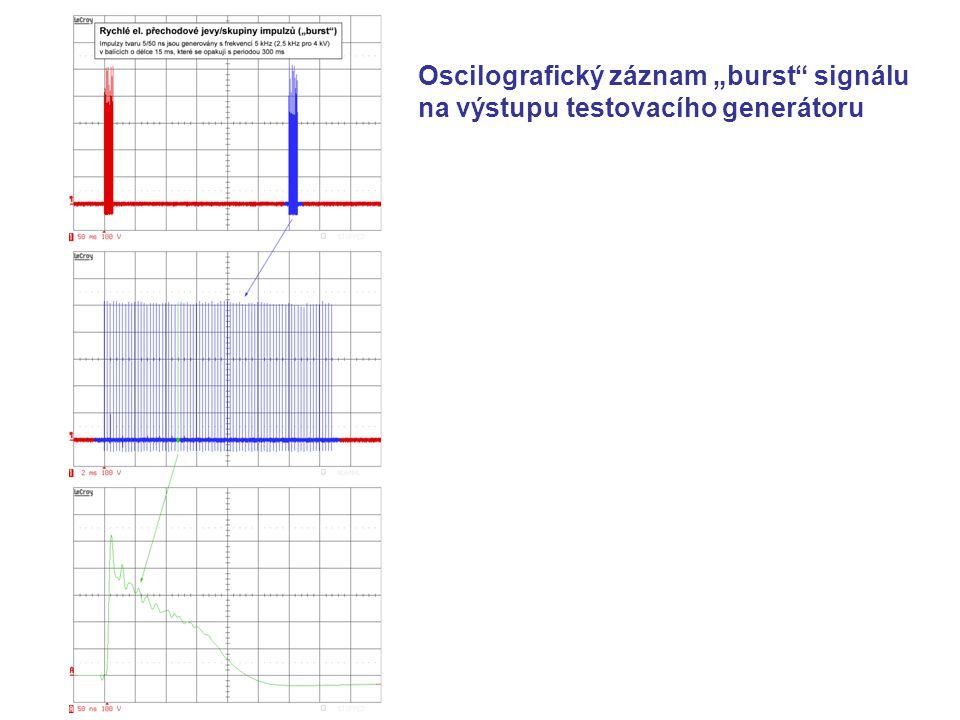 """Oscilografický záznam """"burst signálu na výstupu testovacího generátoru"""