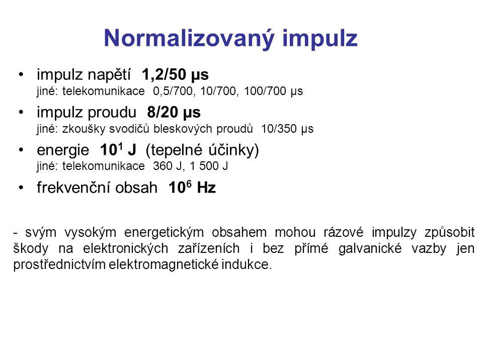 Normalizovaný impulz impulz napětí 1,2/50 μs jiné: telekomunikace 0,5/700, 10/700, 100/700 μs.