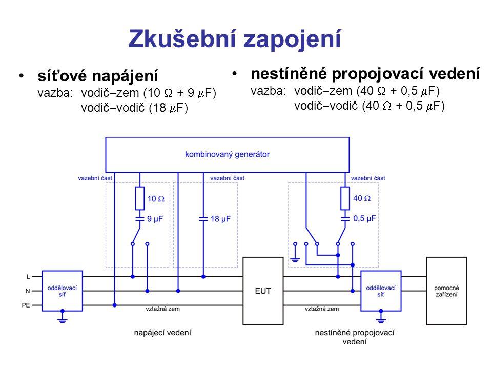 Zkušební zapojení síťové napájení vazba: vodič-zem (10 W + 9 mF) vodič-vodič (18 mF)