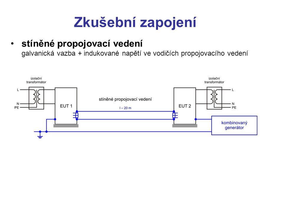 Zkušební zapojení stíněné propojovací vedení galvanická vazba + indukované napětí ve vodičích propojovacího vedení.