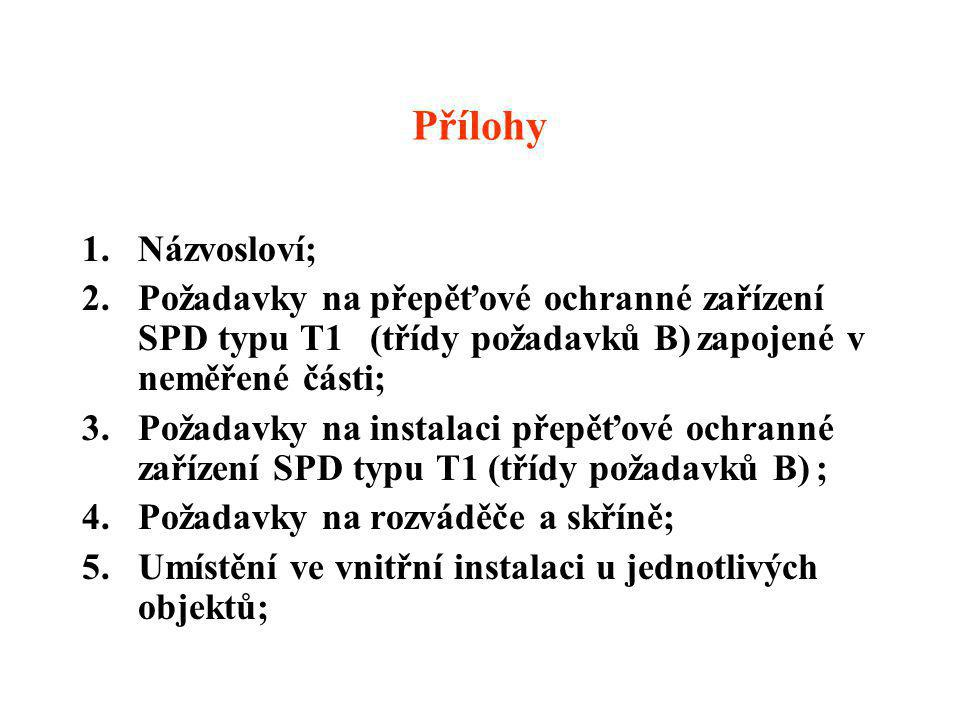 Přílohy Názvosloví; Požadavky na přepěťové ochranné zařízení SPD typu T1 (třídy požadavků B) zapojené v neměřené části;