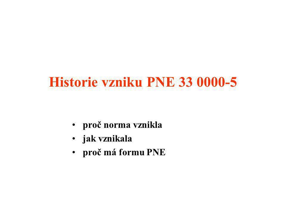 Historie vzniku PNE 33 0000-5 proč norma vznikla jak vznikala