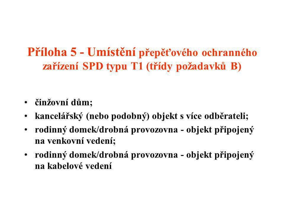 Příloha 5 - Umístění přepěťového ochranného zařízení SPD typu T1 (třídy požadavků B)