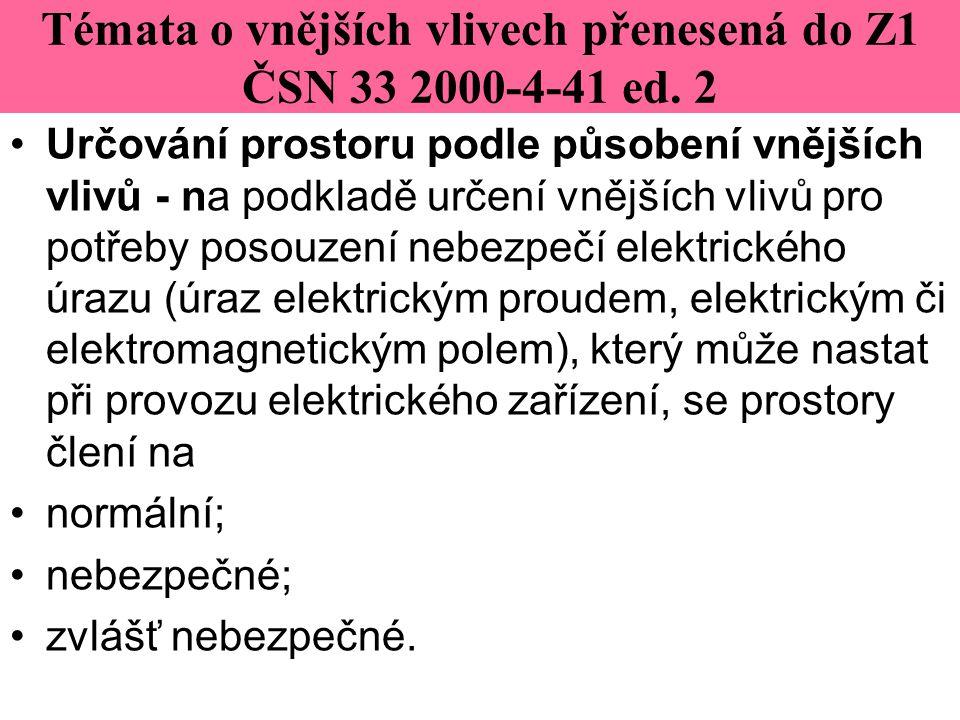 Témata o vnějších vlivech přenesená do Z1 ČSN 33 2000-4-41 ed. 2