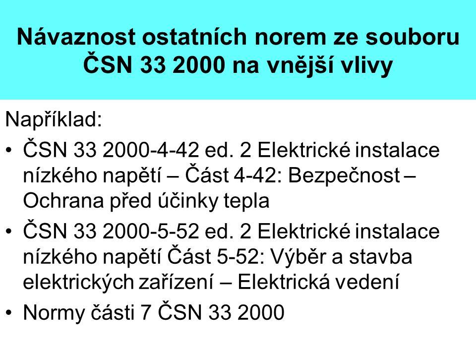 Návaznost ostatních norem ze souboru ČSN 33 2000 na vnější vlivy